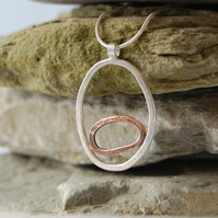 Organic egg pendant - copper & sterling silver