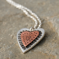 Folk copper & silver heart pendant and chain