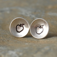 Cute apple sterling silver studs