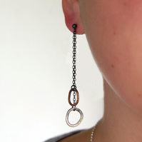 Organic chain earrings, rustic sterling silver & copper