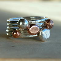 Organic silver and copper stacking rings