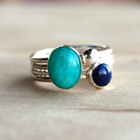 Aqua: amazonite and lapis lazuli stacking rings