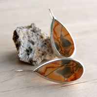 Sterling silver and Jasper tear drop earrings