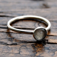 Moonstone skinny stacking ring