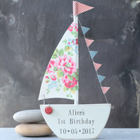 Floral Personalised Wooden Sailboat