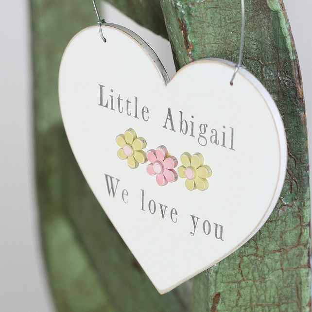Pretty hanging personalised wooden heart