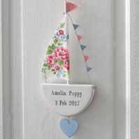Hanging Floral Personalised Sailing Boat