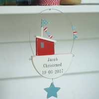 Hanging Personalised Fishing Boat and Star