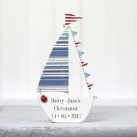 Personalised Sailboat with bunting