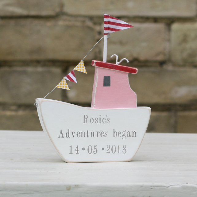 Pink Personalised Fishing Boat with Bunting and Seagull