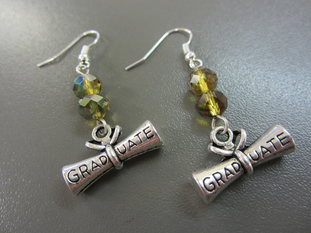 Graduation Earrings - Graduate Scroll Earrings - Mystic Green