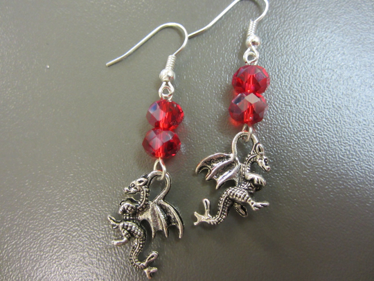 Welsh Dragon Earrings - Red Dragon Charm Earrings