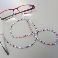 Mixed Pink and Purple Beaded Glasses Chain, Multi-coloured Spectacle Chain