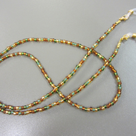 Green and Brown Beaded Glasses Chain, Autumnal Spectacle Chain