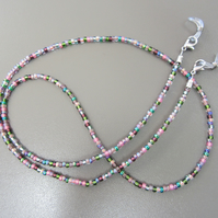 Heather Toned Beaded Glasses Chain, Multi-coloured Spectacle Chain