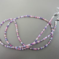 Mixed Pale Pink Beaded Glasses Chain, Multi-coloured Spectacle Chain