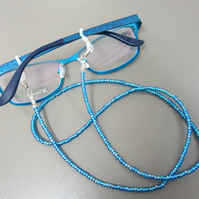 Bright Blue Beaded Glasses Chain, Deep Blue Spectacle Chain