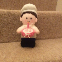 Newly Hand Knitted Chef With Birthday Cake - Can Be Personalised