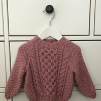 Hand Knitted Baby Girl's Jumper 3-6 months Rose Pink - Can Be Made To Order
