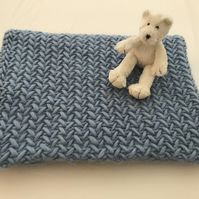 Beautiful 100% Wool Luxury Baby Blanket in Blue  - Can be made to order