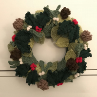 Newly Handknitted Christmas Wreath - 25cm Diameter