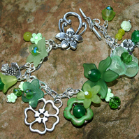 Green Boho Flower Bracelet with Real Gemstone Beads. Silver Plated. Unique.