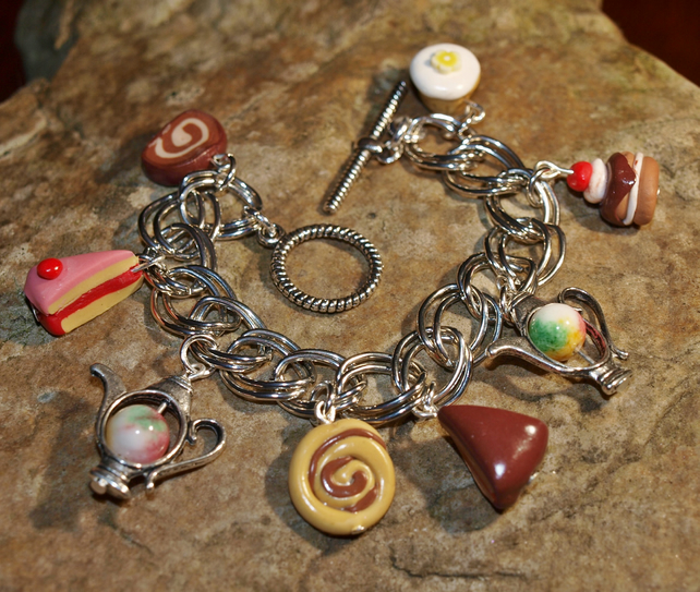 Tea and Cakes Bracelet with Handmade Fimo Cakes and Kunzite Gemstone Beads.