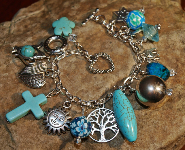 Turquoise 'Indian Bazaar' Charm Bracelet. Silver plated, with Gemstone Beads.