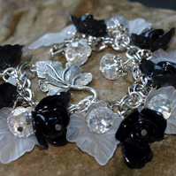 Black and White 'Rosa's Roses' Rose Bracelet with Clear Glass Crystals.