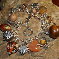 Brown and Gold 'Indian Bazaar' Charm Bracelet. Silver Plated. Multi Medium.