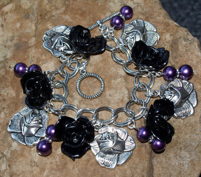 'Rosa's Roses' Black and Silver Rose Bracelet with Purple Glass Pearls.