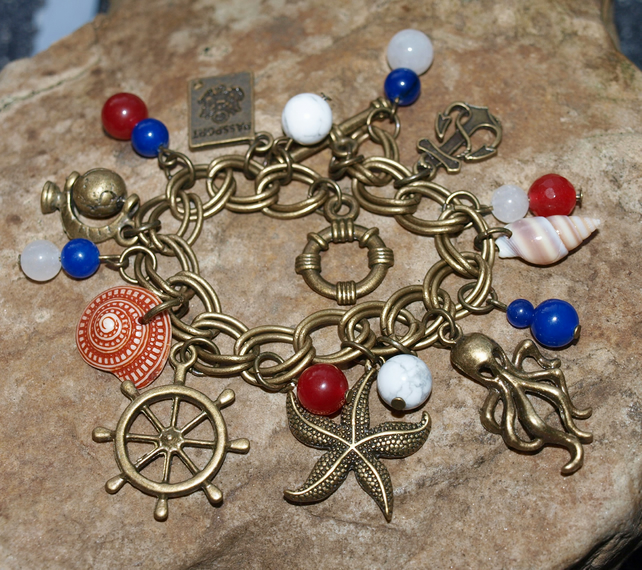 Nautical, Seaside Themed Bracelet with Jade, Lapis and Howlite Gemstone Beads.