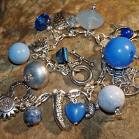 Blue 'Indian Bazaar' Bracelet. Silver Plated with Real Gemstone Beads.