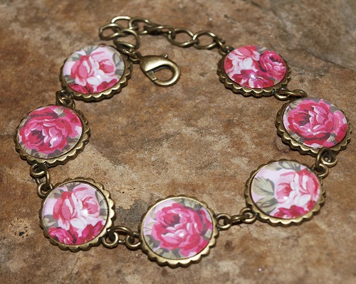 'Parisian Rose' Cameo Style Bracelet in Antique Bronze and Glass.
