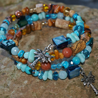 'Blue Lagoon' Multii Gemstone Bangle Bracelet With Palm Trees. Blue and Brown.