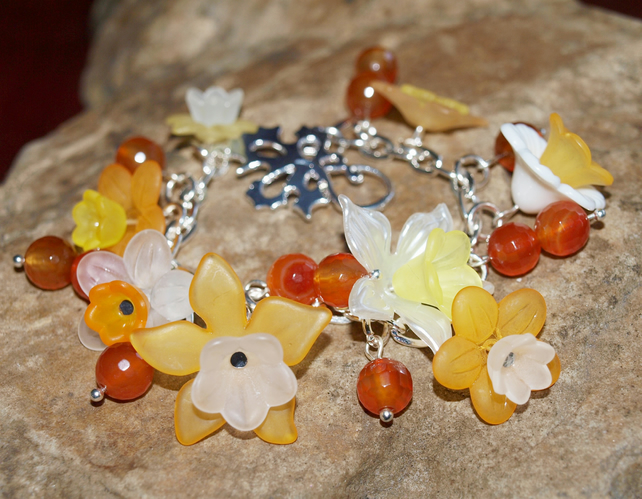 'Spring Daffodils' Bracelet. Silver Plated With Orange Agate Gemstone Beads.