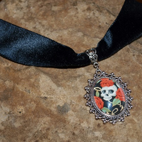 Skull and Roses Cabochon, Black Velvet, Gothic Style Choker Necklace.