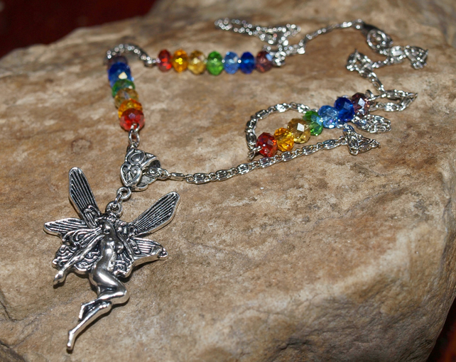 Fairy Necklace with Chakra Corresponding Glass Crystals.