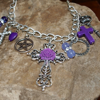 Gothic Style Purple Necklace With Real Gemstone Beads.