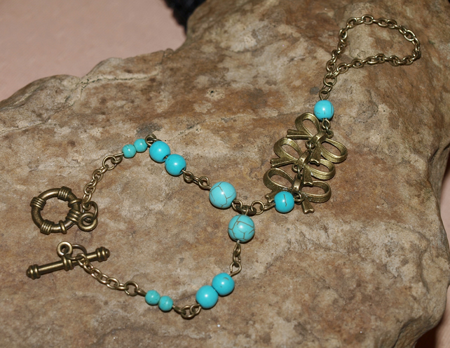 Slave Bracelet With Turquoise and Howlite Gemstone Beads.
