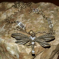 Huge Dragonfly Necklace, With Sparkling Rhinestones, and Glass Crystals.