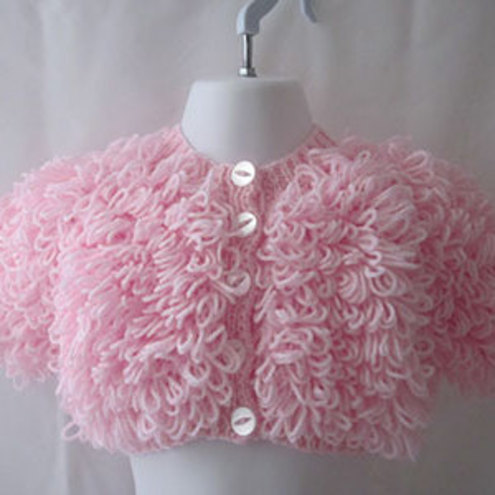 Hand Knitted Babys Pink Loopy Jacket Bon Folksy