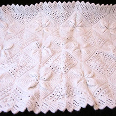 Knitting Pattern Leaf Baby Blanket : Hand Knitted Baby s White Rectangle Blanket wit... - Folksy