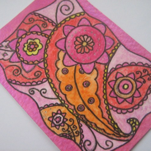 ACEO - original watercolour painting - Paisley, pink, orange