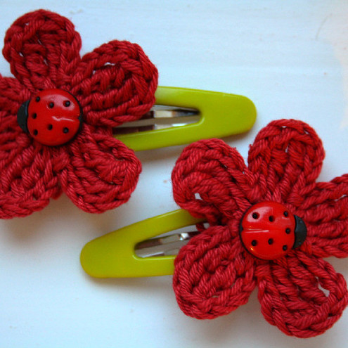 A pair of hair clips with crochet flowers RED ladybird bug