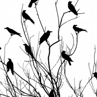 crows - screen print poster