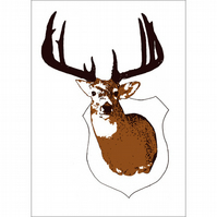 mounted Stag head screen print taxidermy