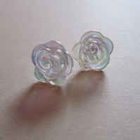 Iridescent Flower Stud Earrings