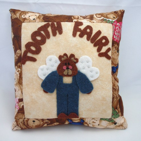 Brown Teddy Tooth Fairy pillow
