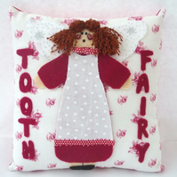 Red Folk Angel Tooth Fairy Pillow